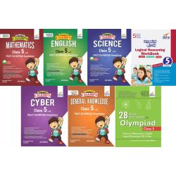 Olympiad Champs Science, Mathematics, English, Logical Reasoning, Cyber & GK Class 5 with 28 Mock Tests (set of 7 books) 2nd Edition
