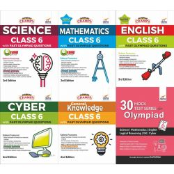 Olympiad Champs Science, Mathematics, English, Cyber & GK Class 6 with 30 Mock Tests (set of 6 books) 2nd Edition