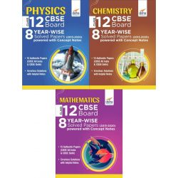 Physics, Chemistry & Mathematics Class 12 CBSE Board 8 YEAR-WISE (2013 - 2020) Solved Papers powered with Concept Notes
