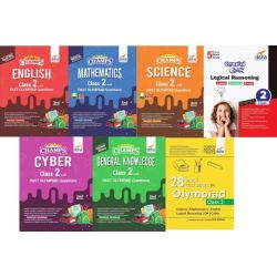 Olympiad Champs Science, Mathematics, English, Logical Reasoning, Cyber & GK Class 2 with 28 Mock Tests (set of 7 books) 2nd Edition